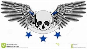 Winged Human Skull Logo With Swords Stock Vector - Image ...