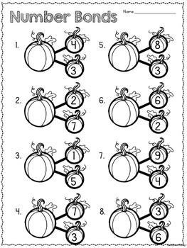 number bonds cards worksheet pumpkins by alison hislop