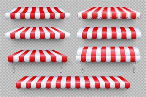 stripe awning cafe tent shop roof canopy sunshade  store window outdoor market awnings vector