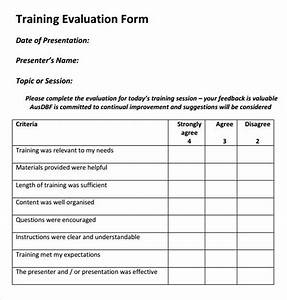 Evaluation Forms For Trainers  15  Sample Training Evaluation Forms