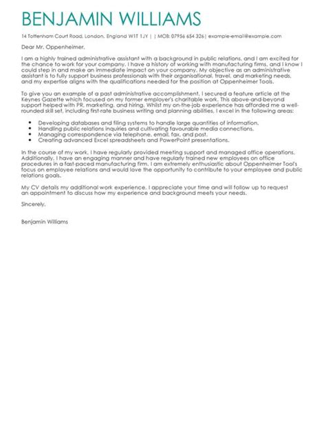 Admin Assistant Cover Letter Uk by The Best Cover Letter Templates Exles Livecareer