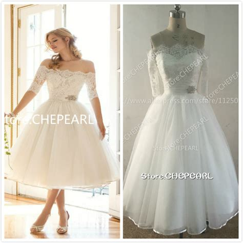Boat Neck Wedding Dress Tea Length by Aliexpress Buy Boat Neck Tea Length Wedding