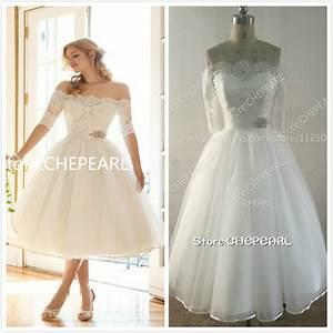 aliexpresscom buy boat neck tea length short wedding With off the shoulder short wedding dress