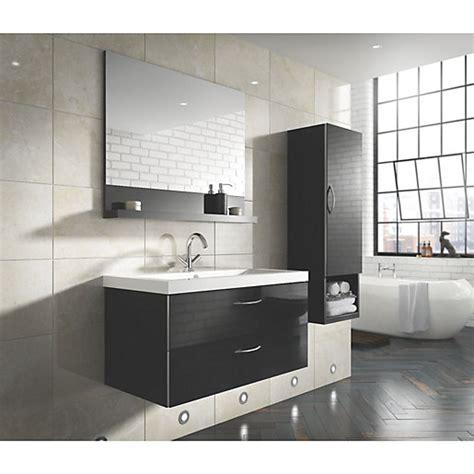 wickes bientina black gloss mirror storage unit  mm