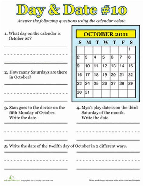 math worksheets for grade 2 calendar worksheet exle