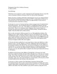 Employee Award Nomination Letter Sample