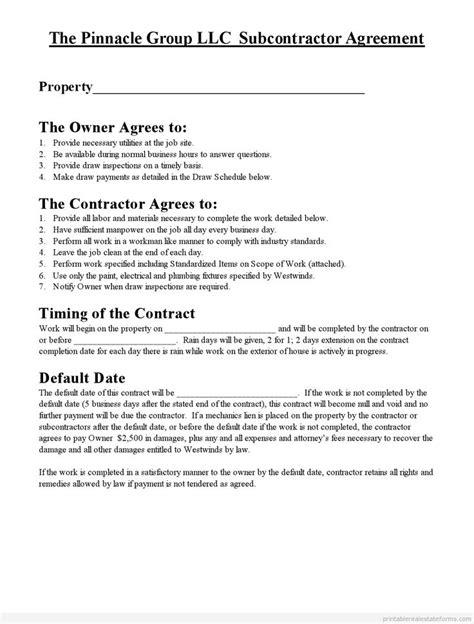 printable subcontractor agreement form printable