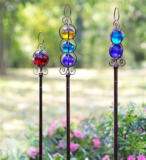 decorative garden stakes glass garden stakes set of 3 decorative garden