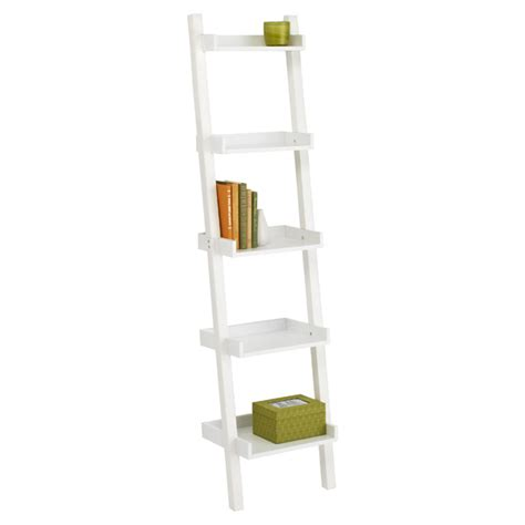 Narrow Ladder Bookcase by White Linea Narrow Leaning Bookcase The Container Store