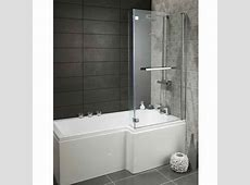 Lily Heavy Duty 1700mm LShaped Shower Bath with Glass