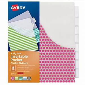 avery big tab 8 tab pocket insertable plastic dividers set for avery 8 big tabs insertable