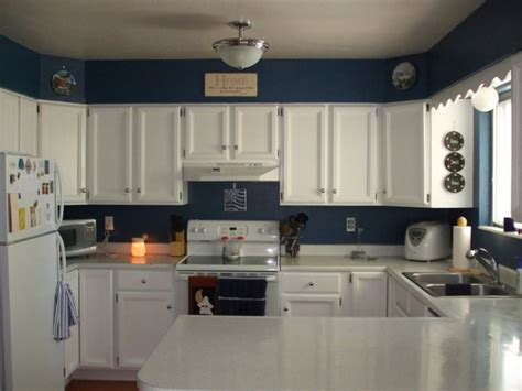 ideas for kitchen colours to paint blue wall color with white kitchen cabinet for