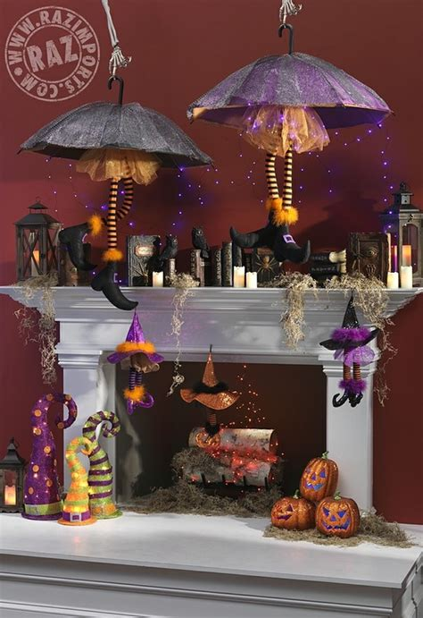 raz halloween mantel  spell books witch legs witch