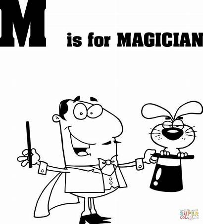 Letter Coloring Magician Pages Printable Library Clipart