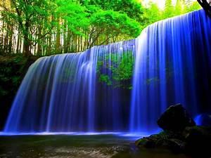 Glowing, Blue, Waterfall, Wallpaper, Hd, Wallpaper