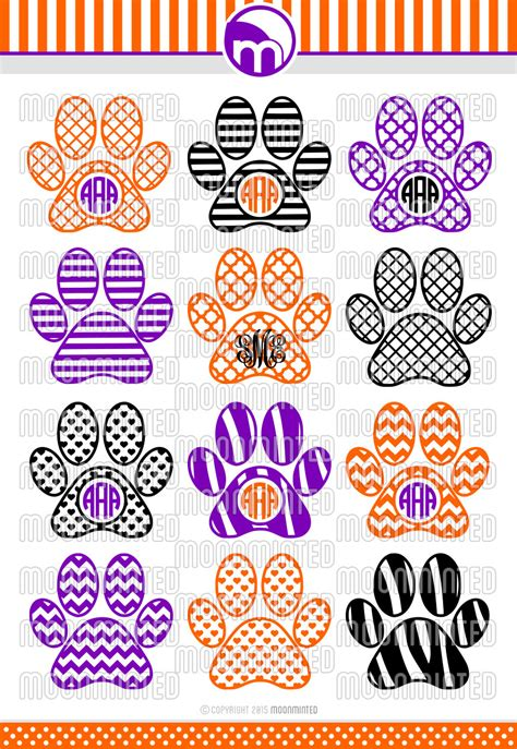 paw print svg cut files monogram frames  vinyl cutters