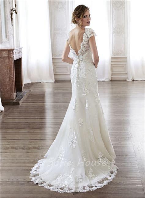 natalie m wedding dresses mermaid scalloped neckline open back vintage lace wedding