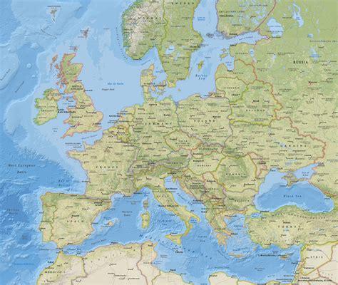 mapa fisico da europa continental