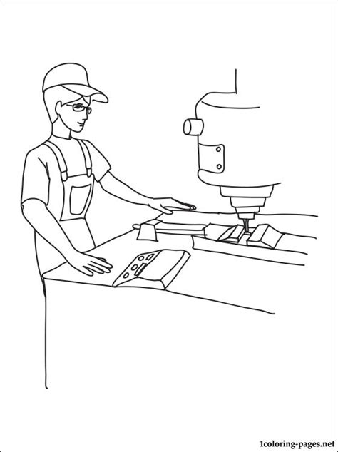 milling machine operator coloring page coloring pages