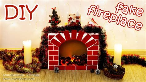 diy fake fireplace  faux fire cozy room decor