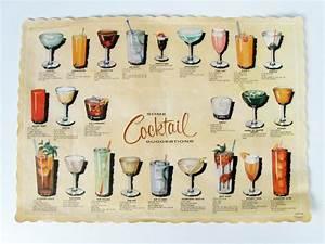 vintage cocktail recipes paper placemat retro bar decoration