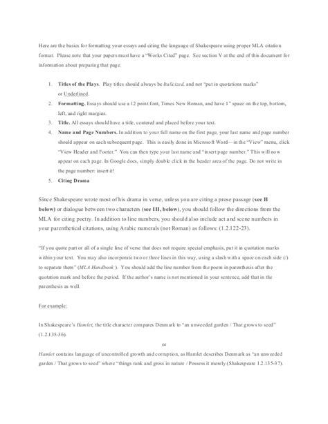 mla 8th formatting shakespeare