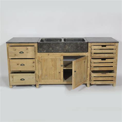 meuble cuisine pin cuisine bois recyclé avec plateau en bleue