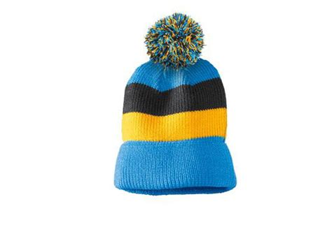 district vintage striped beanie  removable pom