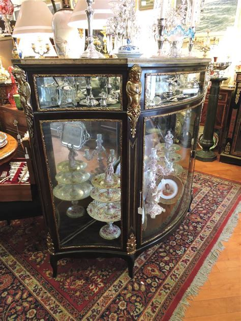 Large French Black Lacquer & Bronze Large Showcase Cabinet