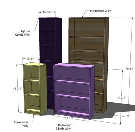 Billy Bookcase Measurements by White Willy Bookcase In Four Sizes Diy Projects