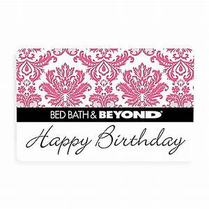 buy quothappy birthdayquot pink toile gift card 100 from bed With does bed bath and beyond sell mattresses