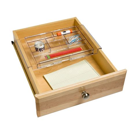 expandable desk drawer organizer expanding acrylic drawer organizer the container store