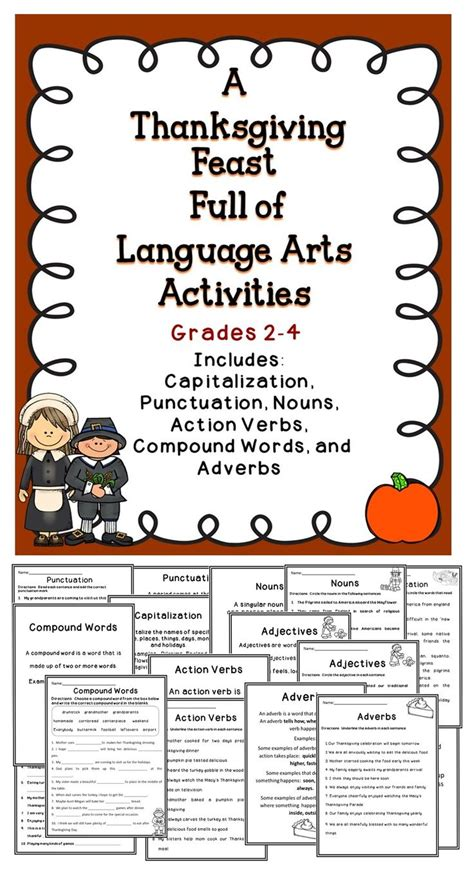 thanksgiving worksheets language arts thanksgiving language arts activities 4th grade 1000