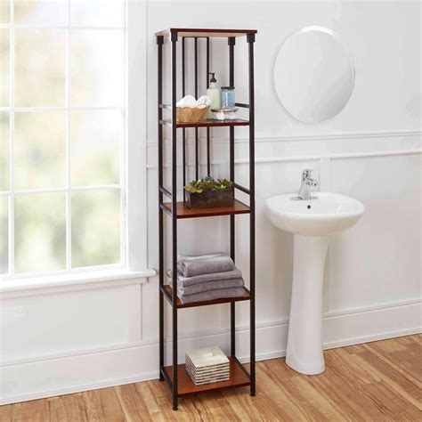 distressed mirror glass declutter with bathroom shelves goodworksfurniture