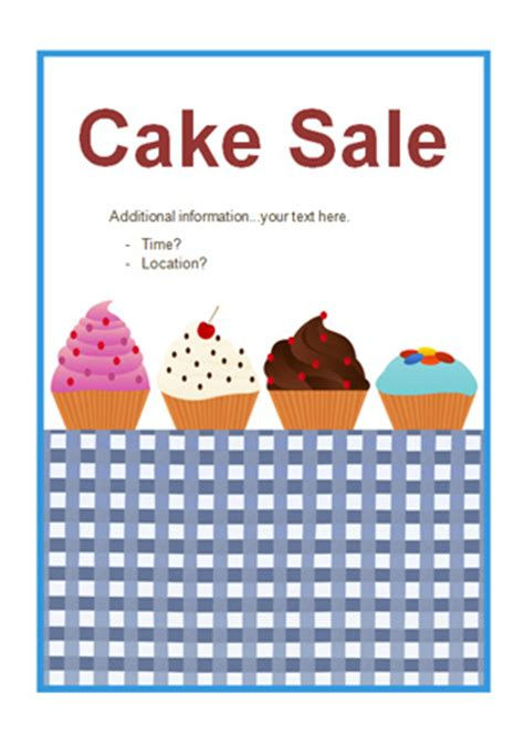 early learning resources editable cake sale poster
