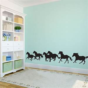 Running horses large animal wall decal wall decal custom for Horse wall decals