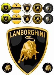 Supercar Lamborghini Logo Edible Icing Topper
