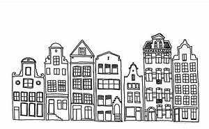 Drawings of buildings in a row :: simple black and white ...