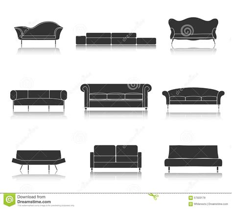 sofa room vector modern luxury sofas and couches furniture icons set for