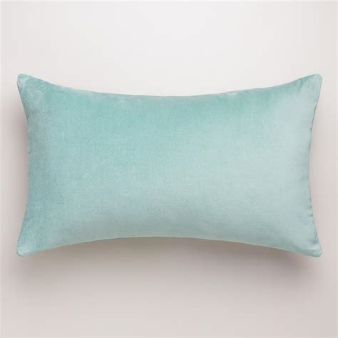 light blue lumbar pillow blue surf velvet lumbar pillow world market