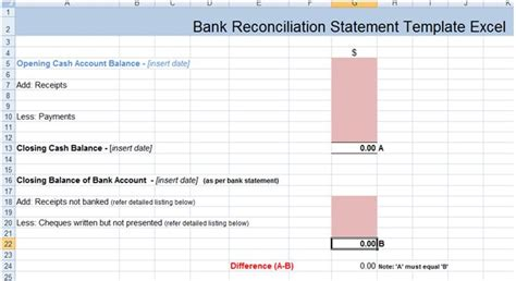 bank reconciliation statement excel template xls excel