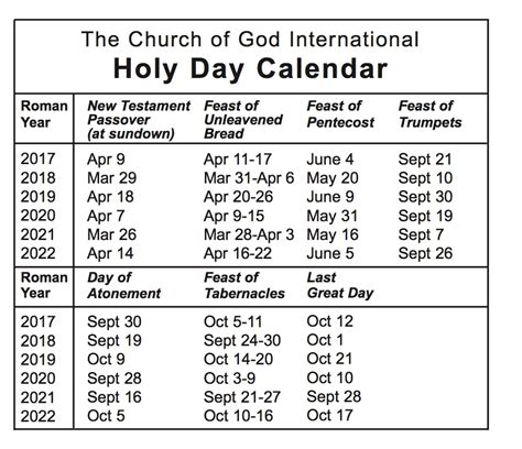 holy day calendar church god international