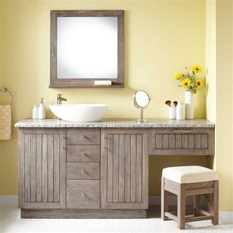 Bathroom Vanities With Makeup Vanity by 72 Quot Montara Teak Vessel Sink Vanity With Makeup Area
