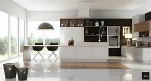 Cuisine Bois Et Blanc : cuisine noir et bois un agencement harmonieux ~ Dailycaller-alerts.com Idées de Décoration