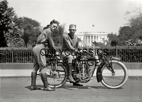 1914 Wwi Soldier Indian Motorcycle In Front Of Usa White