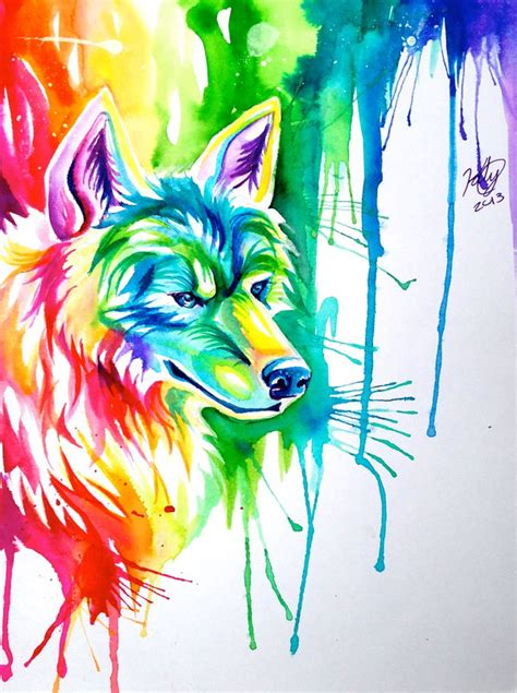 Anime Rainbow Wolf Wallpaper by Rainbow Wolf Commission By Lucky978 On Deviantart