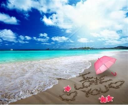 Beach Romantic Heart Sand Hearts Sea Umbrella