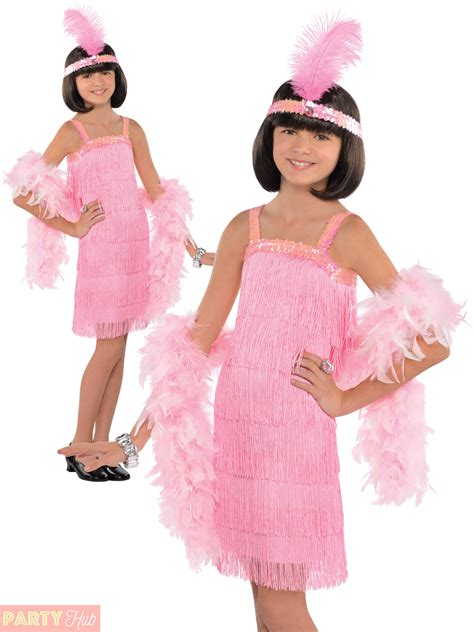 Girls Pink Charleston Flapper Costume Child 1920s Gatsby