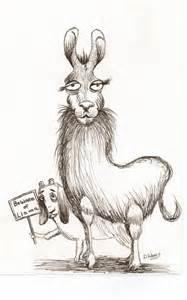 Funny Llama Cartoon Drawing