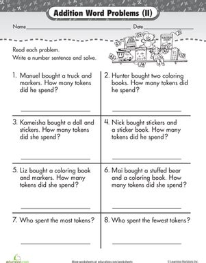 grade worksheets word problems firstgrade